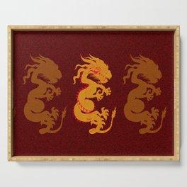 Golden Dragon Pattern Serving Tray