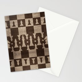 Chess Pieces Pattern - wooden texture Stationery Cards