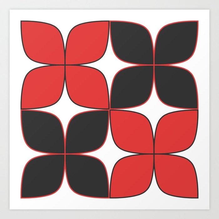 70's Flower Pattern Black Red Art Print