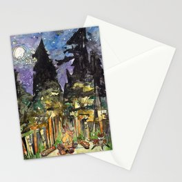 Campfire Under a Full Moon Stationery Cards