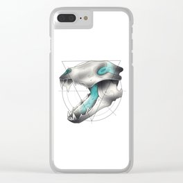 Blue Flame Wolf Skull Clear iPhone Case