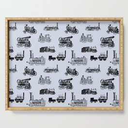 Antique Steam Engines // Steel Grey Serving Tray