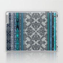 Teal, Aqua & Grey Vintage Bohemian Wallpaper Stripes Laptop & iPad Skin