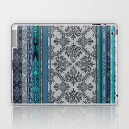 Teal, Aqua & Grey Vintage Bohemian Wallpaper Stripes Laptop & iPad Skin