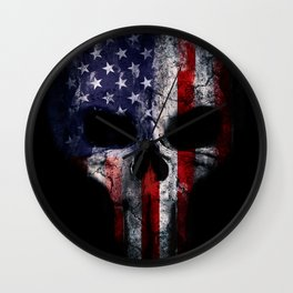 American Flag Punisher Skull Grunge Distress USA Wall Clock