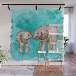 Baby Elephant Love - sepia on watercolor teal Wall Mural