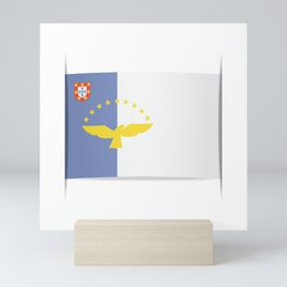 Flag of Azores. The slit in the paper with shadows. Mini Art Print