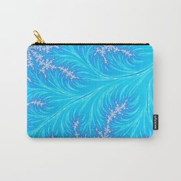 Abstract Aqua Blue Christmas Tree Branch with White Snowflakes Carry-All Pouch
