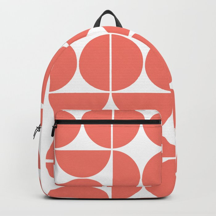 Mid Century Modern Geometric 04 Living Coral Backpack