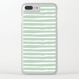 Elegant Stripes Pastel Cactus Green and White Clear iPhone Case