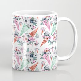 Pink teal hand painted watercolor cone tropical floral Coffee Mug