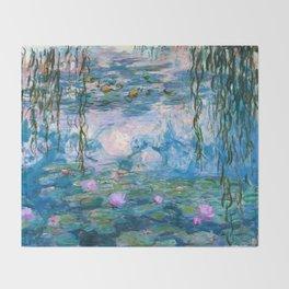 Water Lilies Monet Teal Throw Blanket