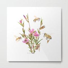 Purple clarkia and Honeybees Metal Print