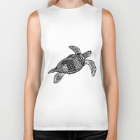 turtle Biker Tanks featuring Turtle by Sophie H.