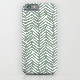 Herringbone, Christmas, Green, Boho Art iPhone Case