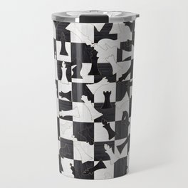 Chess Figures Pattern - Wood black and white Travel Mug