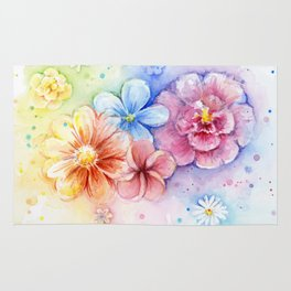 Flowers Watercolor Floral Colorful Rainbow Painting Rug