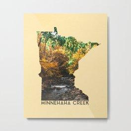 Minnehaha Creek Minnesota Map Metal Print