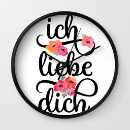 German I Love You Floral Wall Clock