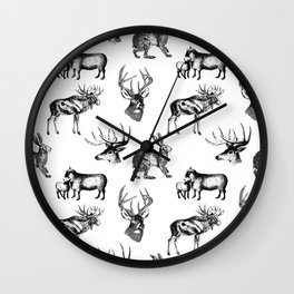 Woodland Critters in Black and White Wall Clock