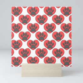 Puppy Paw Print In Red Heart Drawing Pattern Mini Art Print