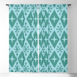 Mid Century Modern Atomic Triangle Pattern 710 Green and Blue Blackout Curtain