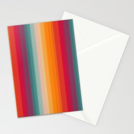 Retro Rainbow Striped Pattern Stationery Cards