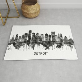 Detroit Michigan Skyline BW Rug
