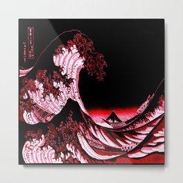 The Great Wave : Red & Black  Metal Print