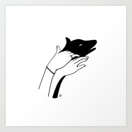 Dog shadow Art Print