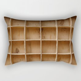 Empty wooden cabinet with cells Rectangular Pillow