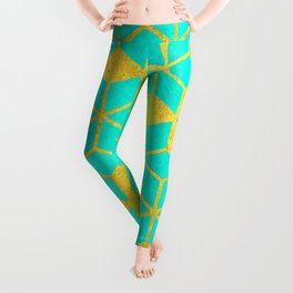 Aqua and Gold Cubes Leggings