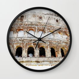 Aquarelle sketch art. View to the Colosseum from the street Wall Clock