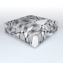 Black and White Zentangled Cross Tile Doodle Design Outdoor Floor Cushion