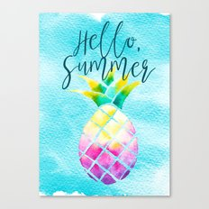 Hello Summer Watercolor Pineapple - Tropical Vacation Pineapple Canvas Print