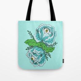 Spooky Blue Roses Tote Bag
