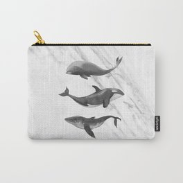 Ocean Whales Marble Black and White Carry-All Pouch