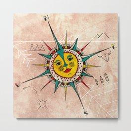 Navajo Sun Compass Metal Print