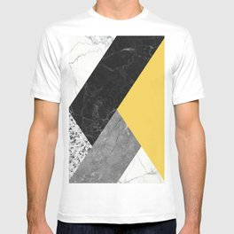 Black and White Marbles and Pantone Primrose Yellow Color T-shirt