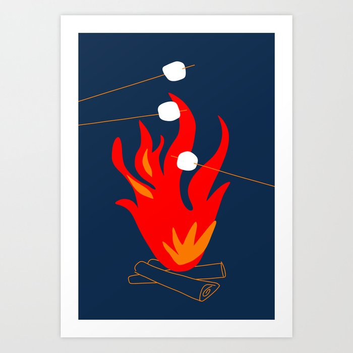 Roasting Marshmallows Over A Campfire By Tasha Johnson Art Print