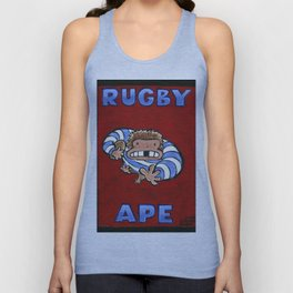 Rugby Ape on Red Unisex Tank Top
