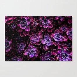 Space Succulents Sparkle Magenta Purple Canvas Print