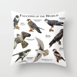 Falcons of the World Throw Pillow