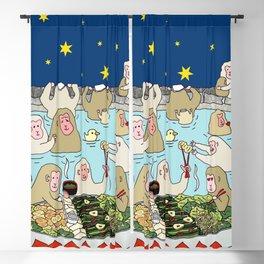 Snow Monkeys in Hot Spa Blackout Curtain