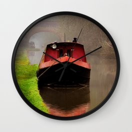Barge on the Canal Wall Clock