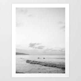 Once your board hits the water - Black and white surf travel photography print | Dominican republic Art Print