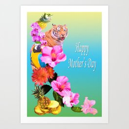 Happy Mother's Day Exotic Flowers And Animals Art Print