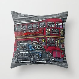 London bus and cab Throw Pillow