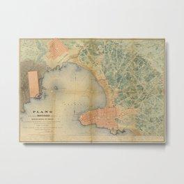 Vintage Map of Montevideo Uruguay (1867) Metal Print