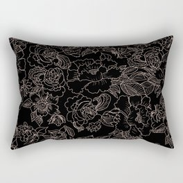 Pink coral tan black floral illustration pattern Rectangular Pillow